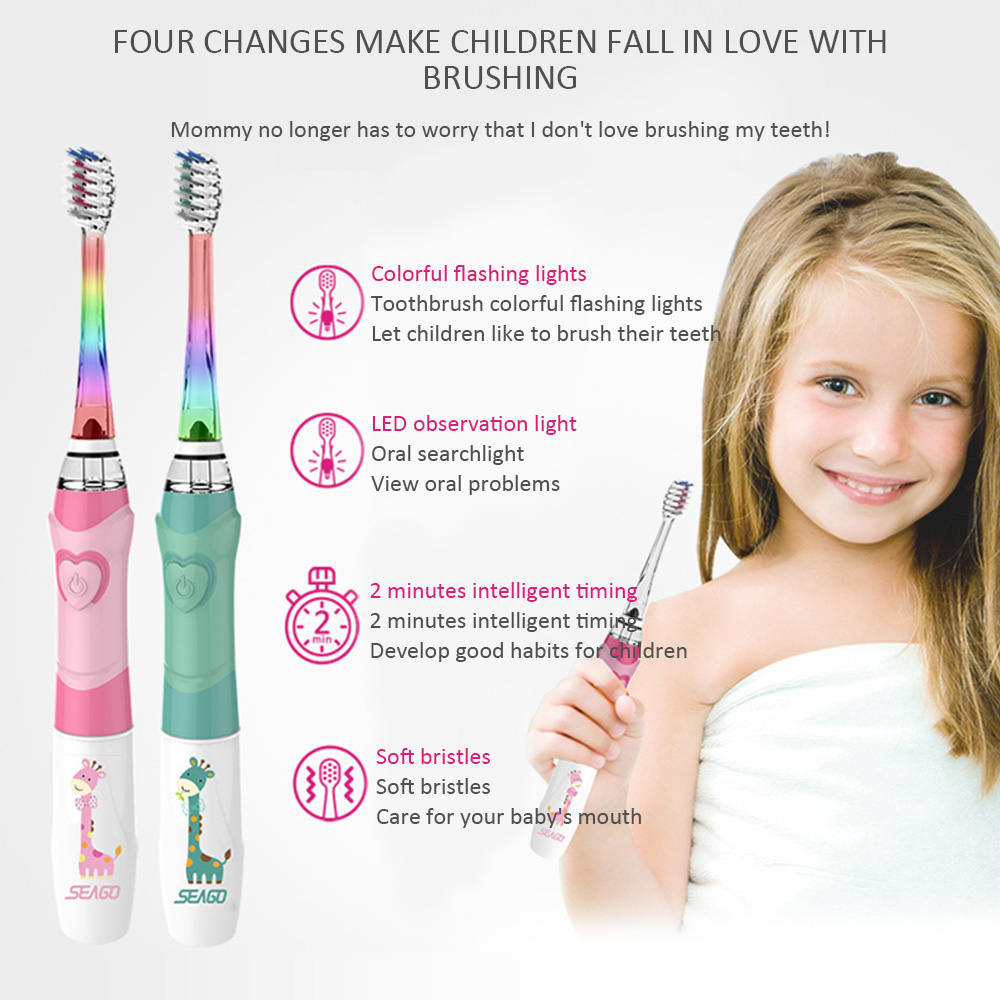 SEAGO Children Electric Toothbrush with Timer for 3-12 Ages Battery Children Toothbrush LED Sonic Kids Toothbrush 3 Nozzles image