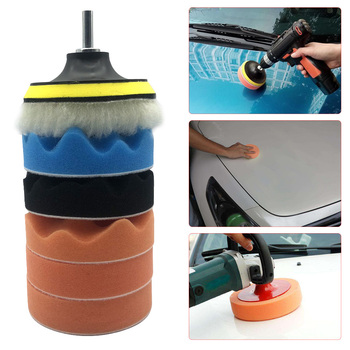 7Pcs Buffing Pad Set Thread 4 inch Auto Car Polishing Kit for Polisher + Drill Adaptor M14 Power Tools Accessories - discount item  20% OFF Power Tools