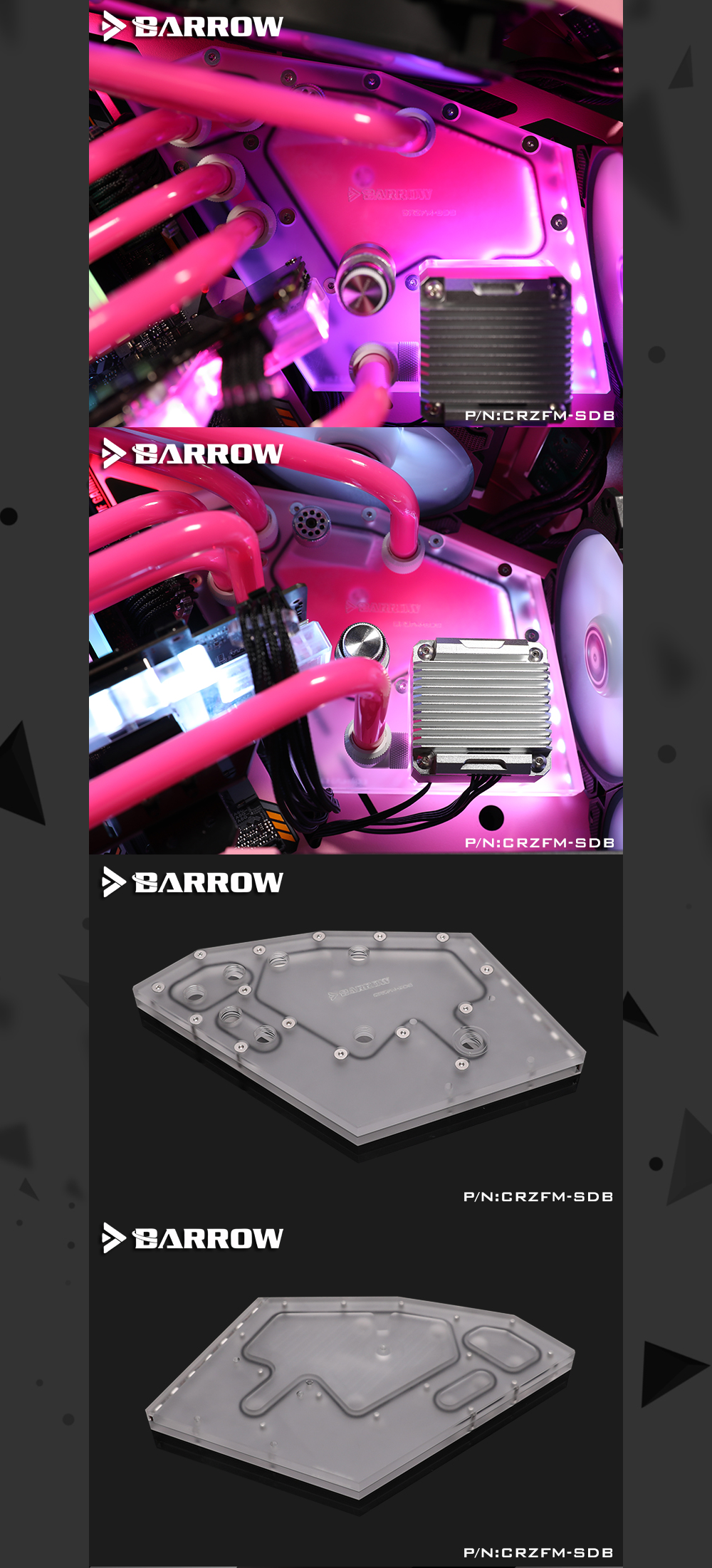 Barrow CRZFM-SDB, Waterway Boards For Cougar Conquer Mini Case, For Intel CPU Water Block & Single GPU Building