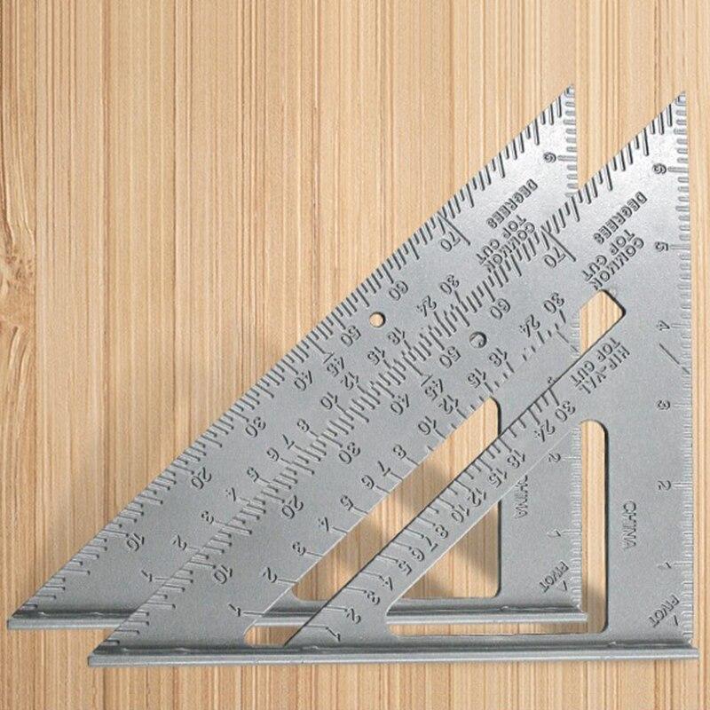 7 дюймов Треугольники линейка Алюминий сплав линейка квадратный линейка; Деревообработка измерения Столярный инструмент квадратный Скоро...