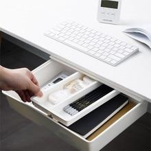 Self-Adhesive Under Desk Drawer Hidden Storage Box Makeup Organizer Self Stick School Stationery Case Pencil Tray Pen Holder WF