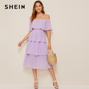 Image 4 - SHEIN Foldover Front Off Shoulder Layered Pleated Dress Solid Ruffle High Waist Women Dresses Glamorous Summer Dress