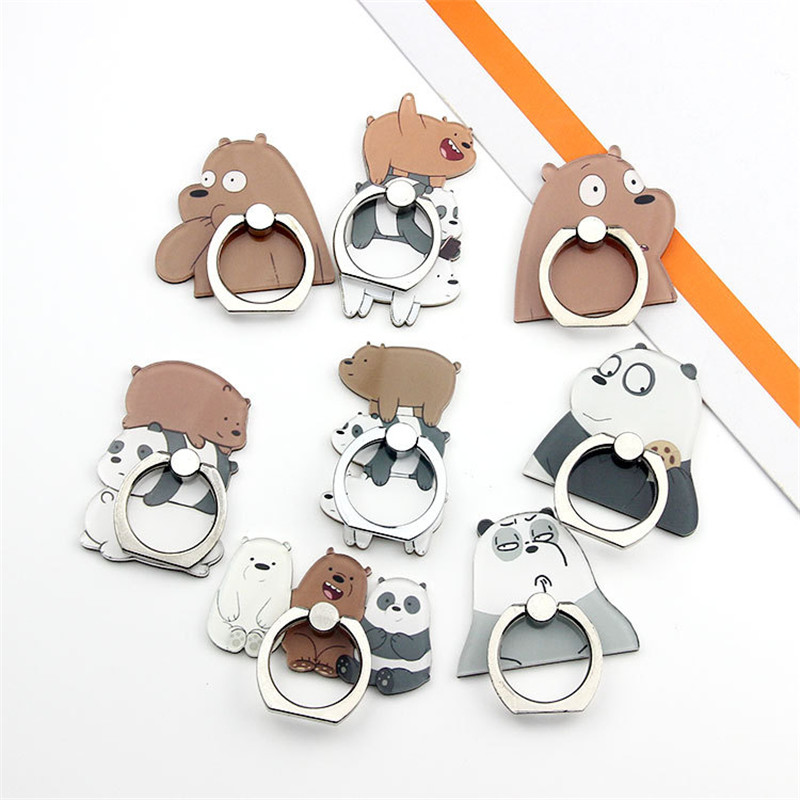 360 Degrees Universal Cartoon Cute Bear Panda UVR Phone Holder Base Ring Accessories IPhone 8 XS X 7 Plus Mobile Phone