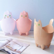 Cute Funny Cat Waste Bins Creative Household Desktop Multifunction Uncovered Trash Can Kitchen Livingroom Sorting Dustbin Bucket