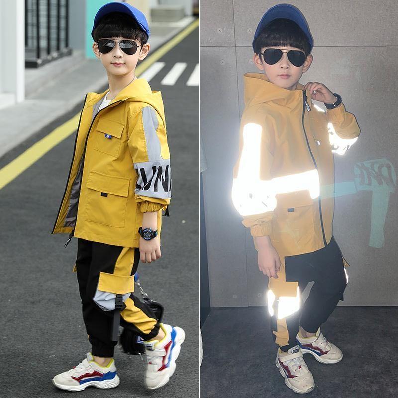 Одежда для мальчиков, весенние комплекты для мальчиков, новинка 2020, Молодежная Осенняя спортивная одежда, ветрозащитная куртка с капюшоном + штаны, детский Светоотражающий Комплект из 2 предметов для мальчиков|Комплекты одежды| | АлиЭкспресс