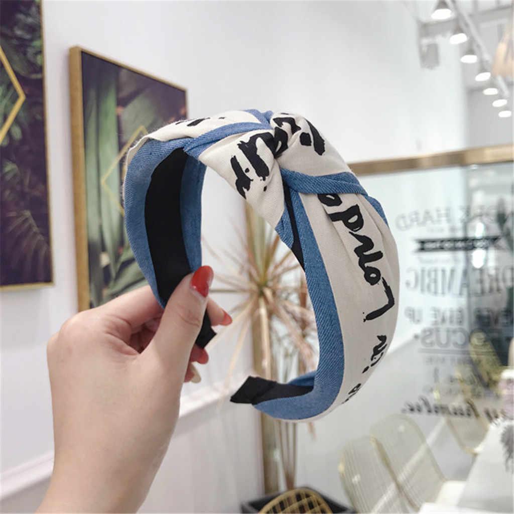 ผู้หญิงผ้า DENIM Letter knotted โบว์กว้าง-brimmed headband คริสตัลหญิงสวมใส่ผ้า Hairband HEAD Wrap อุปกรณ์เสริม