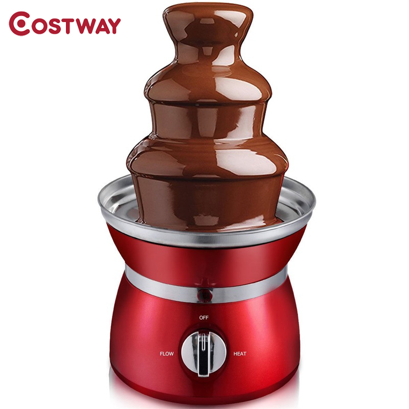 Costway 3 Tiers Stainless Steel Chocolate Fondue Fountain Auger-style Fountain Easy To Clean Separate Heat Settings image