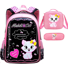 Children School Bags Girls Backpack Kids cat Printing black