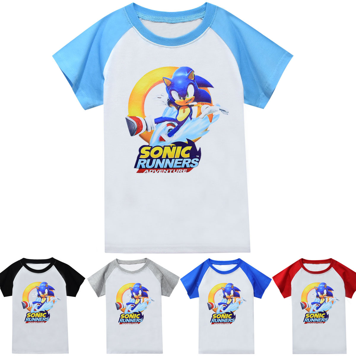 2020 Summer New Cartoon Printing Sonic The Hedgehog Boy And Girl Hit Color Sports Casual Refreshing Cotton T-shirt Top