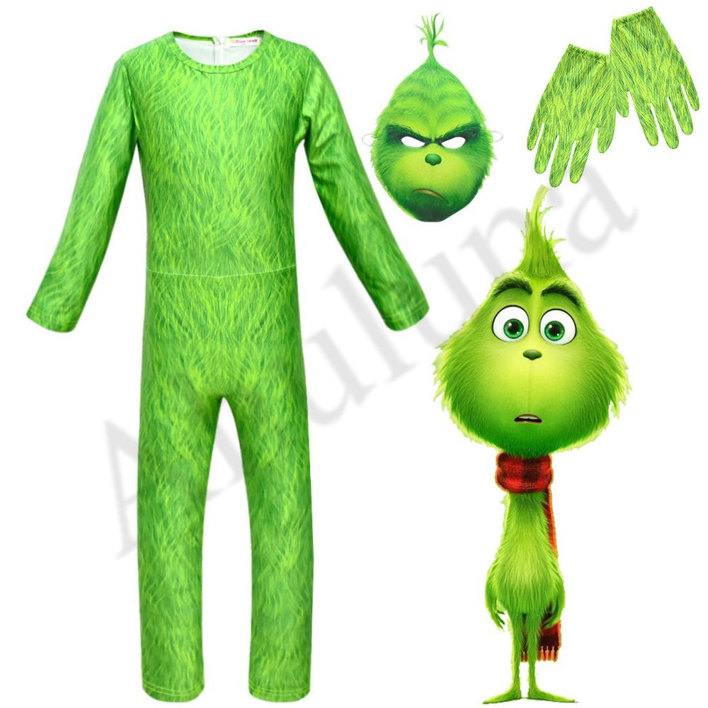 2019 New Cosplay Anime Green Monster The Grinch Costume Christmas Costumes Bodysuits For Kids Boys Jumpsuits Back Zipper C183
