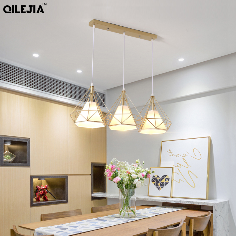 Nordic pendant lights three-head restaurant pendant light dining room lamp shop front bar creative single head household light