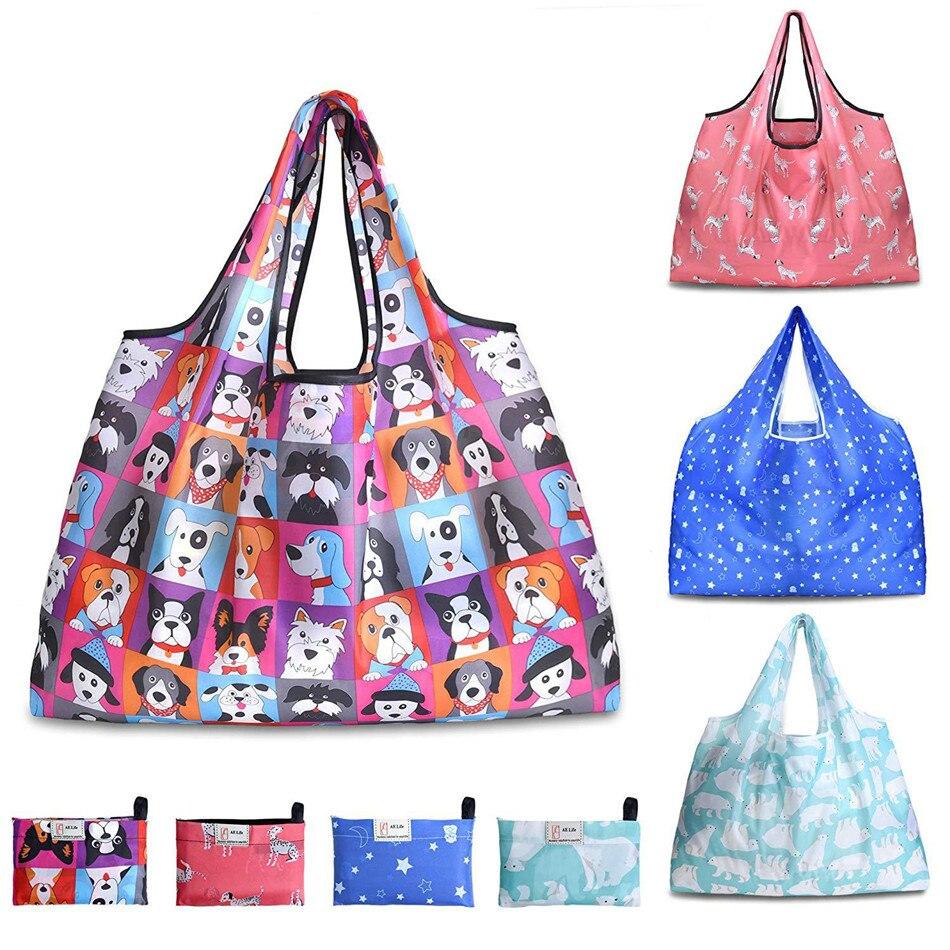 Folded Printed Shopping Bag Large Capacity Waterproof Bag  Tote Bag  Grocery Bag  Reusable Shopping Bag