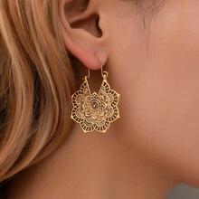 FSUNION 2019 New Femme oorbellen Antique silver Gypsy Indian Tribal Ethnic Hoop Dangle Mandala Earrings Boho boucle doreille