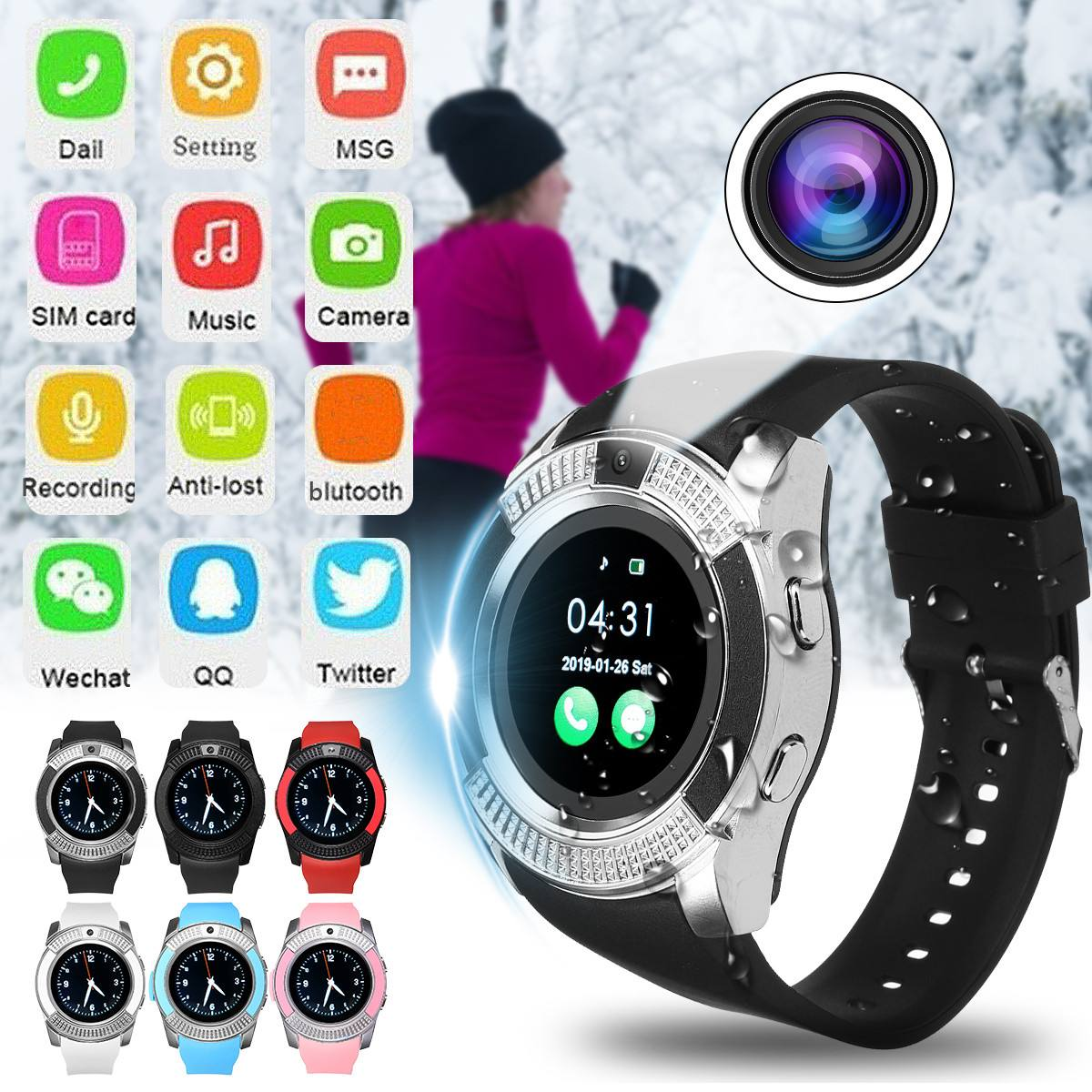 Round Touch Screen Smart Watch With HD Camera GPS Pedometer bluetooth SIM Card Function Silicone Band Standalone Sport Watch image