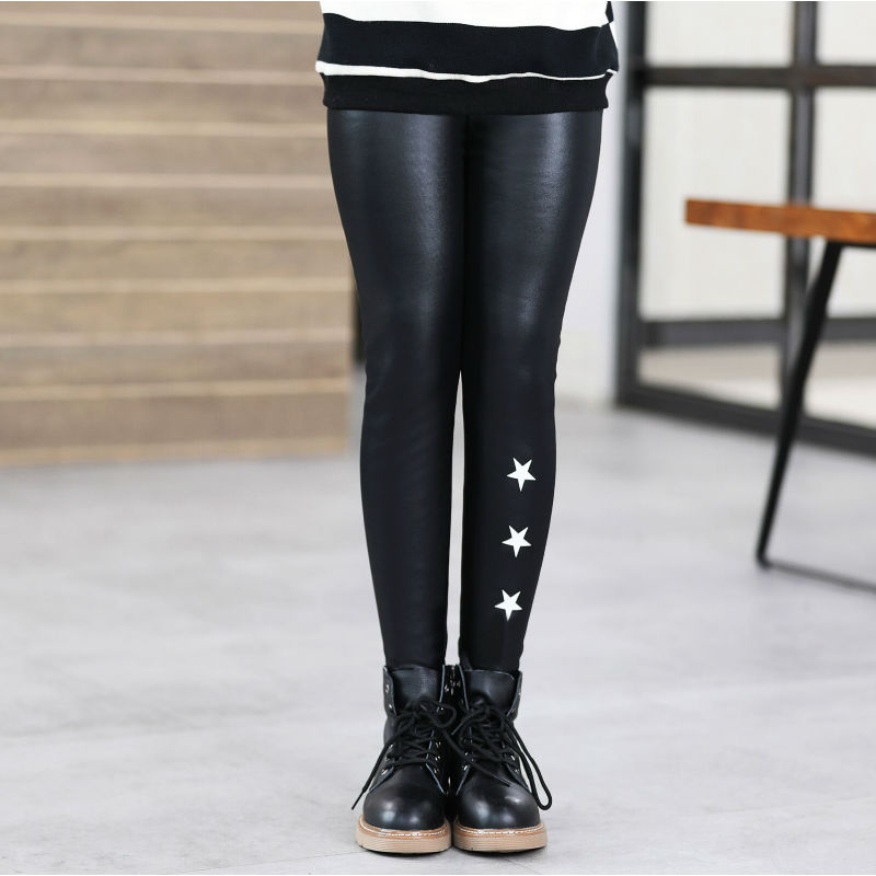 Girls Faux PU Leather Leggings Winter Thick Fleece Lined Skinny Pants Cartoon Print Kids Stretchy Legging Black 4