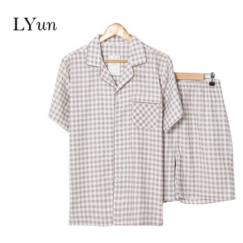 цена на LYun Summer new men's pajamas double gauze home service suit short sleeve shorts daily service specials
