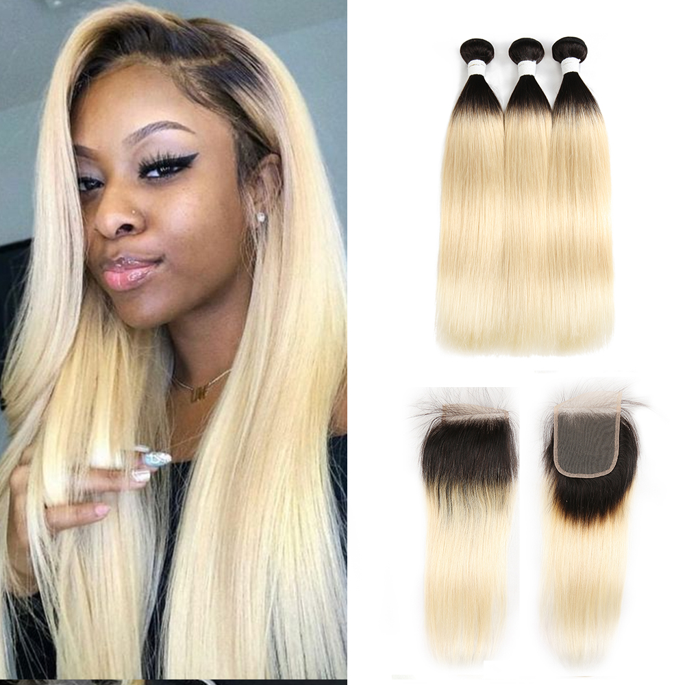 Ombre Blonde Straight Hair Bundles With Closure 4x4 SOKU Brazilian 3 Bundles Human Hair With Closure Remy Hair Weave Extension