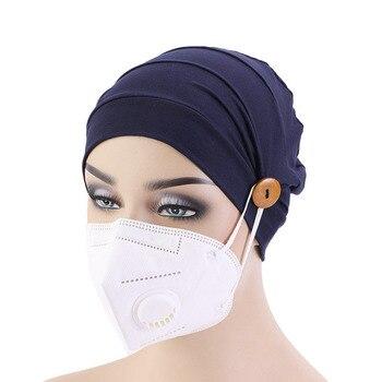 Fashion printing ladies Turban bonnet soft cotton arab wraps top Knot hijab caps women head scarf ready to wear turbante - discount item  30% OFF Muslim Fashion