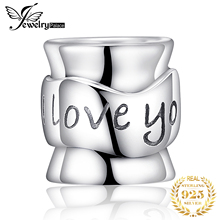 JewelryPalace 925 Sterling Silver Engraved I Love You Charm Beads Fit Bracelets For Mother And Dad As Beautiful Gifts