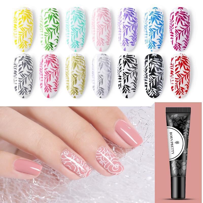 Гель-лак для стемпинга ногтей BORN PRETTY, 8 мл, белый, черный, блестящий, отмачиваемый Гель-лак для ногтей, штамп для маникюра, дизайн штампов для д...