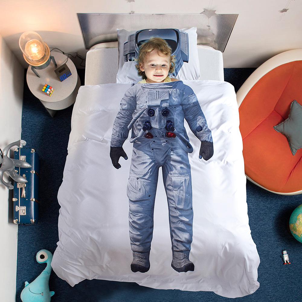 America Size Playful Astronaut Printed Digital Printed Quilt Cover Three-piece Home Textile Set