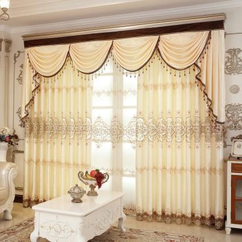 European Style Curtains for Living dining Room Bedroom Light Luxury Embroidery Jacquard Curtains Finished Product Customization 1969 feverish finished product 064