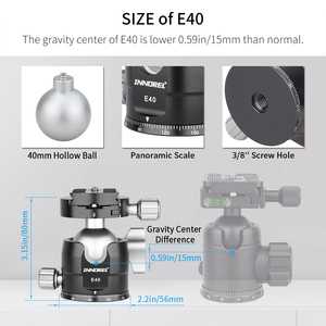 "Image 3 - INNOREL E34/E40 נמוך פרופיל חצובה כדור ראש פנורמי CNC מצלמה חצובה Ballhead עם 1/4 ""Arca שוויצרי L שחרור מהיר צלחת"