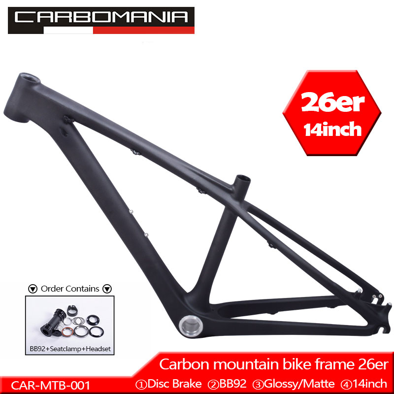Chinese Kids Carbon 26er Mtb Frame Mtb Carbon Frame 26er 14 Inch Carbon Mtb Frame 26 Carbon Kids Frame With Headset+clamp+BB92