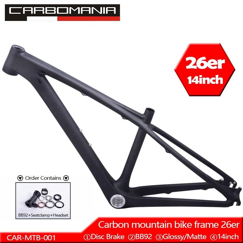 Chinese Kids Carbon 26er Mtb Frame Mtb Carbon Frame 26er 14 Inch Carbon Mtb Frame 26 Carbon Kids Frame With Headset+clamp+BB92