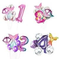Lote de 8 globos de fiesta de sirena para niños, globos de papel de aluminio con número 1, 2, 3, 4, 5, 6, 7, 8 y 9 años
