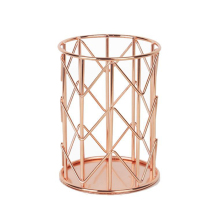 Rose Gold Metal Pen Holder Desk Organizer Pencil Pen Holder Container School Stationery Office Accessories