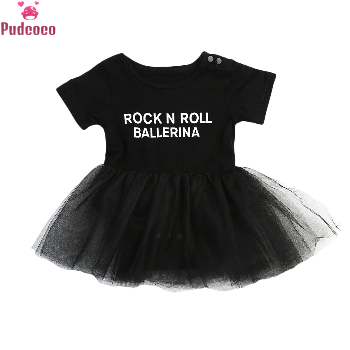 New Born Infant Toddler Clothes Baby Girl Romper Princess Dress Print Letter Rock N Roll Tulle Tutu Lace Dresses