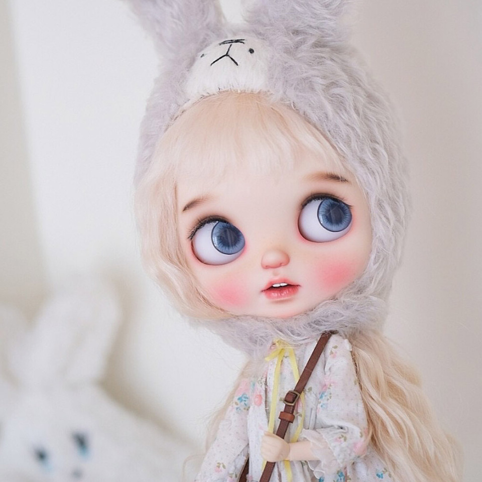 Blythe Nude Doll from Factory Black Straight Hair Eyebrow Mouth+Big Rabbit Tooth