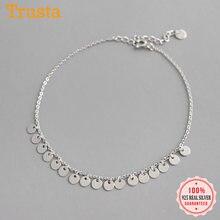 Trustdavis – bracelets de cheville en argent Sterling 925 pour femme, chaîne à franges de 20cm, bijoux pour meilleur ami, cadeau, DS2317