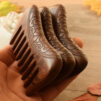 Wooden Comb Natural Gold Sandalwood Super Wide Tooth Wood Combs Double side engraved small Pocket hair combs