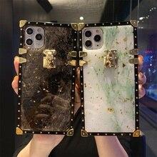 Funda trasera de silicona con purpurina para móvil, funda de teléfono para Xiaomi cuadrado de mármol, lámina de oro ostentosa de lujo, Redmi Note 9 Pro Max 8 7 9S 9A 9C Mi 10 9