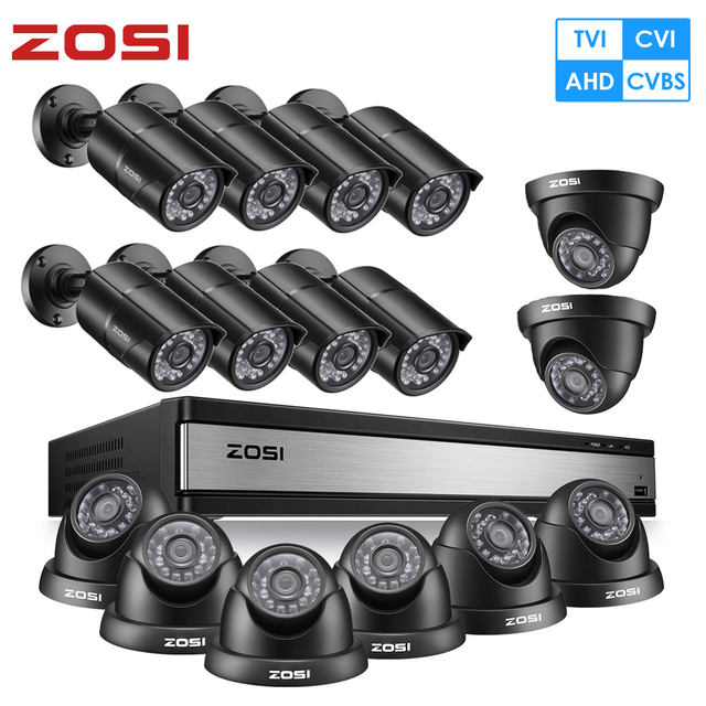 ZOSI Full HD 1080P 16CH Analog AHD CCTV Camera Security System in Outdoor/Indoor with 16 PCS Camera  Video Surveillance DVR Kit