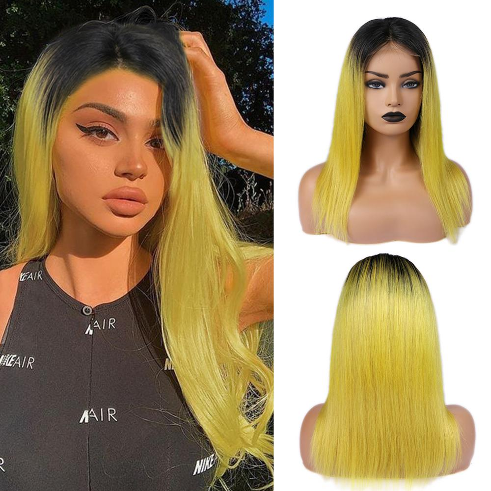 Wignee 4x4 Lace Closure Human Hair Wigs For Black/White Women Ombre Yellow/Grey/Pink Straight Hair Glueless Lace Front Human Wig