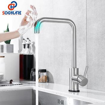 gappo stainless steel touch control kitchen faucets smart sensor kitchen mixer touch faucet for kitchen pull out sink tapsy40112 SOGNARE Touch Control Kitchen Faucet Stainless Steel Nickel Smart Sensor Kitchen Mixer Touch Faucet for Kitchen Sink Taps Crane