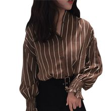 Fashion Woman blouses stripe Loose Casual Striped Button Lapel girl Long Sleeve Shirt Top  female clothing button Blouse