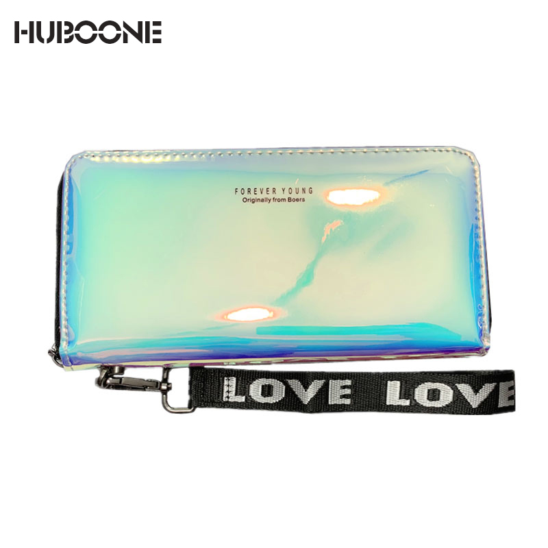 Women Wallets Lanyard Laser Holographic Wallet Women Long Purse Female Clutch Bag Portfel Zip Phone Pocket Card Holder Carteras
