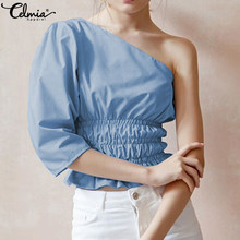Fashion Blouses Celmia Women Sexy One Shoulder Shirts 2020 Summer Chic Casual Waist Elastic Tunic Top Elegant Office Lady Blusas