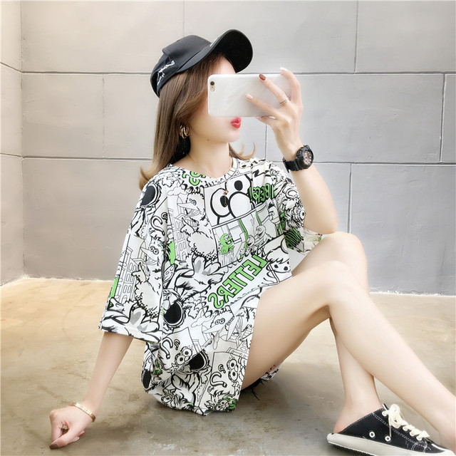 Купить женская футболка с коротким рукавом свободная и удобная в корейском картинки цена