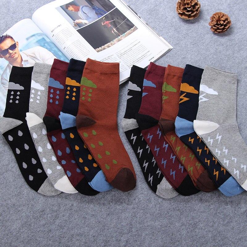 Men Funny Halajuku Humored Raindrop Lightning Orinted Socks Creative sokken Hip Hop Street Skateboard Basket ball Socks Unisex