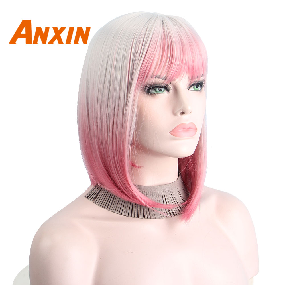 Anxin Synthetic Cosplay Wigs For Black Women With Bangs  Short Omber  Wig Natural Wave Ombre Anxin Bob Part Shoulder Length