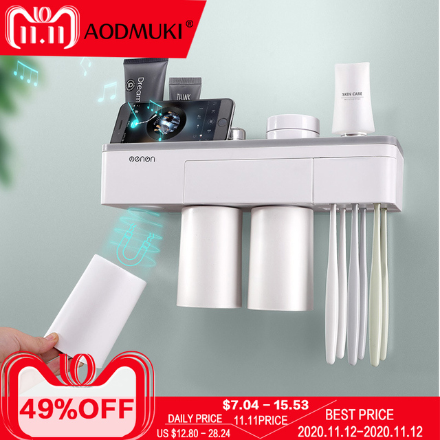 Toothbrush holder bathroom accessories toothpaste storage organizer glass for toothbrushes shelf magnetic adsorption With cup