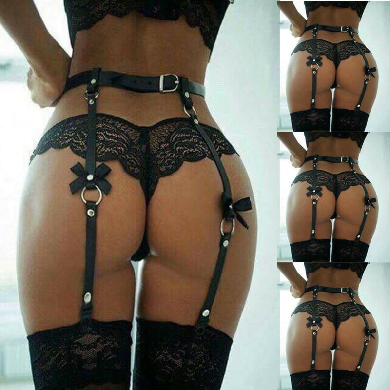 New arrival Punk Women Leather Leg Garter Straps Thigh High Stockings Suspender Belt title=