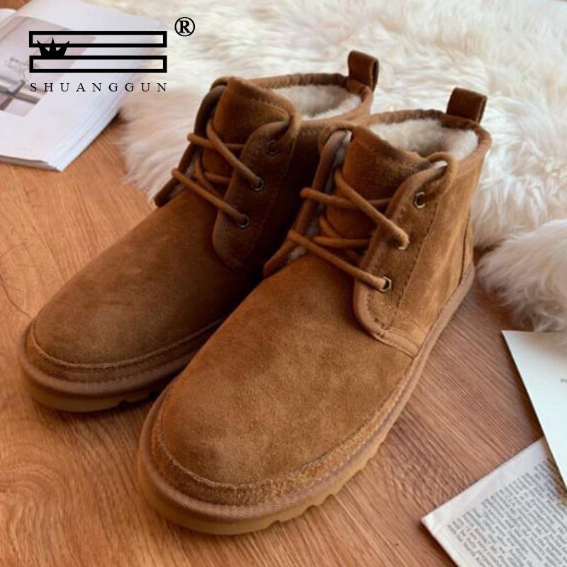 Australian Imported Brands Snow Boots For Men Lace-Up Winter Shoes Real Sheepskin Leather Nature Wool Fur Ankle Short Boots