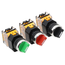 22 мм самоблокирующийся Селекторный переключатель 1NO1NC 2/3 положения поворотные переключатели DPST 4 винта 10A400V выключатель питания вкл/выкл красный зеленый черный
