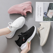 Plus Size Breathable Mesh Platform Sneakers Women Slip on Soft Ladies Casual Running Shoes Woman Knit Sock Shoes Flats X037 siddons women shoes flat breathable mesh platform sneakers women soft comfortable slip on ladies casual flats shoes sock shoes